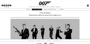 James Bond website screenshot