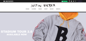 Justin Bieber website screenshot